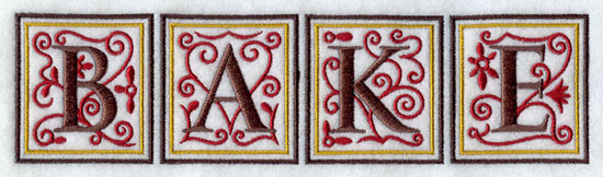 Letter tiles form the word 'Bake' machine embroidery design.