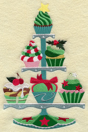 A Christmas cupcake tree machine embroidery design.
