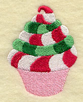 A peppermint frosting cupcake machine embroidery design.