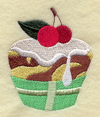 A cupcake with cherries on top machine embroidery design.