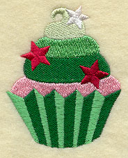 A cupcake with stars machine embroidery design.