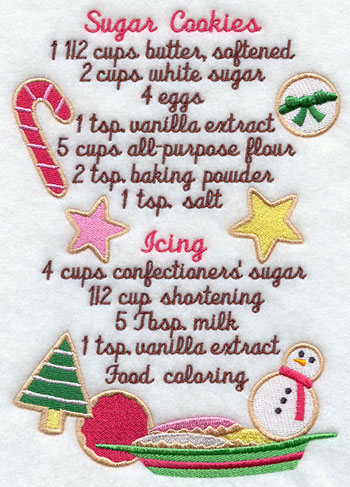 A sugar cookie recipe machine embroidery design.