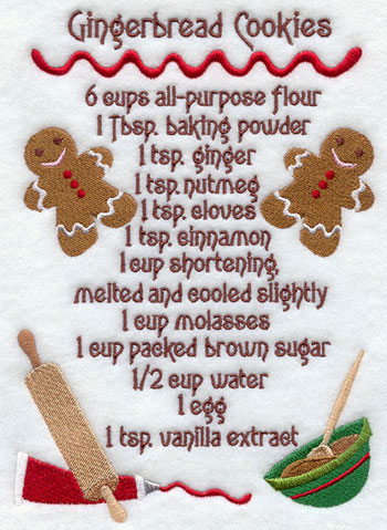 A gingerbread cookie recipe machine embroidery design.