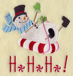 Snowman on a sled machine embroidery design.