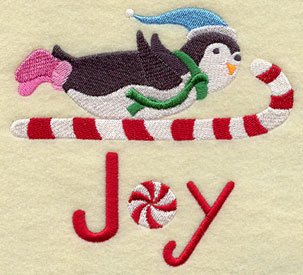 A penguin on a candy cane sled machine embroidery design.