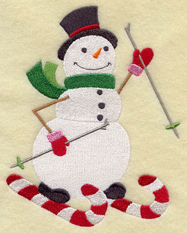 A snowman on candy cane skis machine embroidery design.