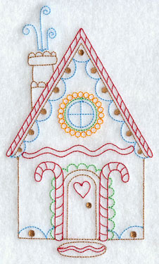 A redwork gingerbread house machine embroidery design.