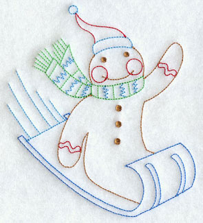 A redwork gingerbread man on a sled machine embroidery design.