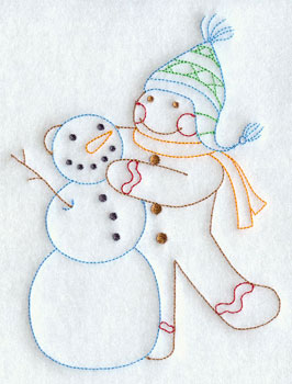 A redwork gingerbread man making a snowman machine embroidery design.