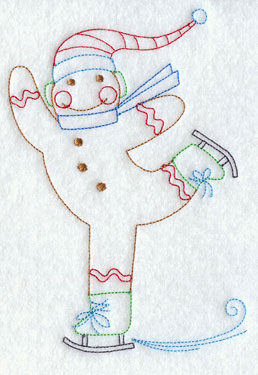 A redwork gingerbread man ice skating machine embroidery design.