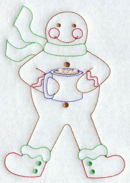 A redwork gingerbread man with hot cocoa embroidery design.
