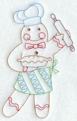 A redwork gingerbread man baker machine embroidery design.