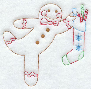 A redwork gingerbread man with Christmas stocking machine embroidery design.