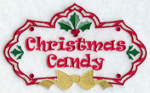 Christmas candy label machine embroidery design.