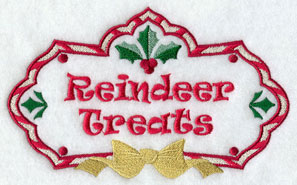 Christmas reindeer treats label machine embroidery design.