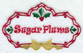 Christmas sugar plums label machine embroidery design.