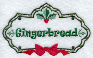 Christmas gingerbread label machine embroidery design.