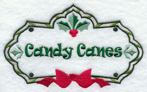 Christmas candy canes label machine embroidery design.