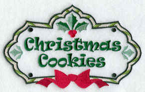 Christmas cookies label machine embroidery design.
