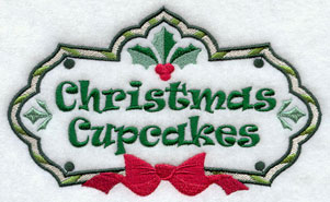Christmas cupcakes label machine embroidery design.