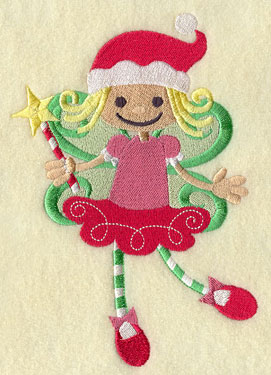 A peppermint fairy with a wand machine embroidery design.