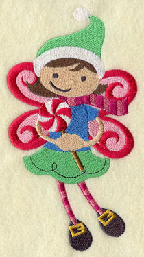 A peppermint fairy with a lollypop machine embroidery design.