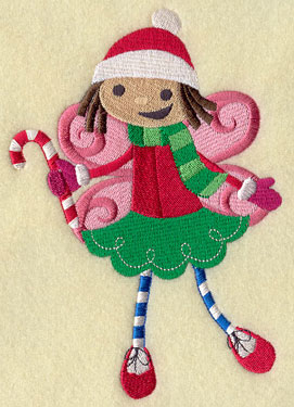 A peppermint fairy with a candy cane machine embroidery design.