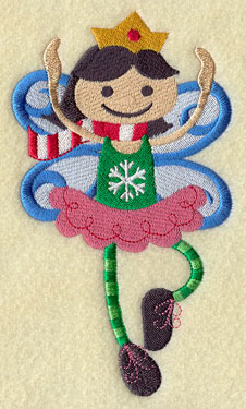 A Christmas peppermint fairy dancing machine embroidery design.