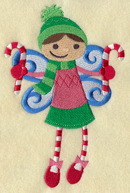 A Christmas fairy with candy canes machine embroidery design.