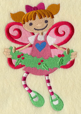 A peppermint Christmas fairy with holly machine embroidery design.