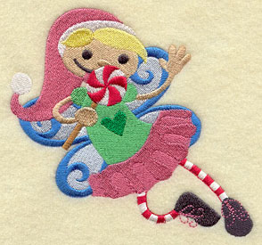 A peppermint fairy machine embroidery design.