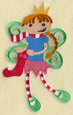 A Christmas peppermint fairy machine embroidery design.