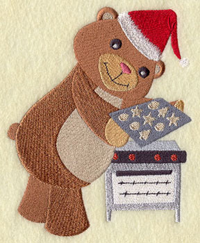 A teddy bear bakes Christmas cookies machine embroidery design.