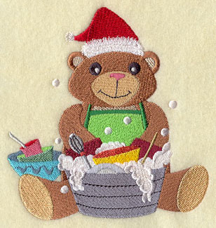 A teddy bear in a stocking cap washes dishes machine embroidery design.
