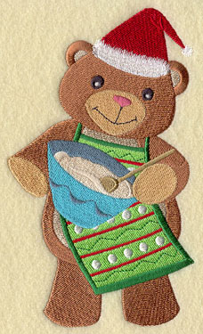 A bear mixes dough for Christmas cookies machine embroidery design.