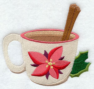 A Christmas apple cider in a poinsettia cup machine embroidery design.