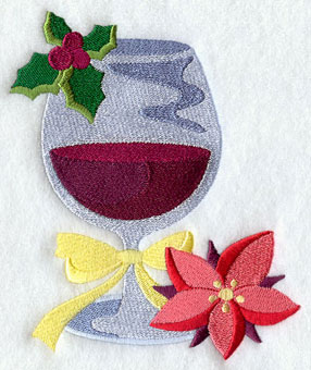A glass of Christmas wine with poinsettia machine embroidery design.