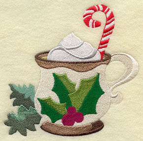 Christmas egg nog in a holly cup with a candy cane machine embroidery design.