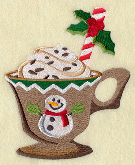 Christmas cocoa or hot chocolate in a snowman cup machine embroidery design.
