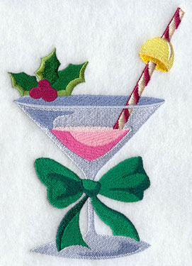A Christmas martini machine embroidery design.