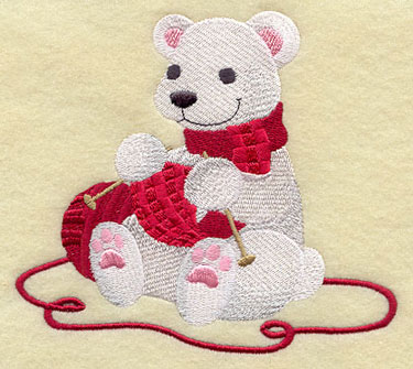 Crafty Collectible knitting polar bear machine embroidery design.