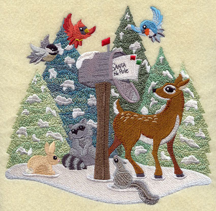 A letter to Santa Claus from animal friends Christmas machine embroidery design.