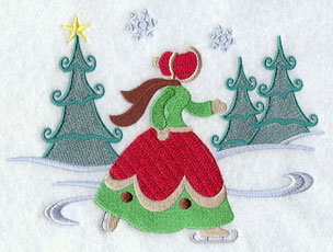 Christmas Carol ice skating machine embroidery design.