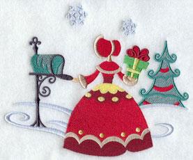 Christmas Carol mailing a present machine embroidery design.