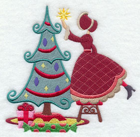 Christmas Carol decorating a tree machine embroidery design.