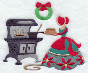Christmas Carol baking treats machine embroidery design.