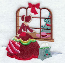 Christmas Carol holiday shopping machine embroidery design.