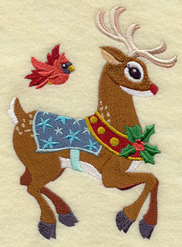 Rudolph the Red-nosed Reindeer and cardinal machine embroidery design.