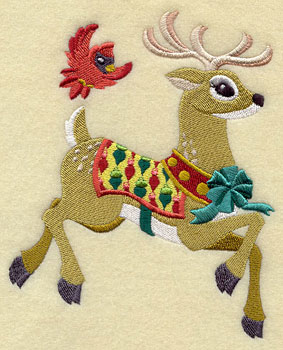 A Santa's reindeer and bird Christmas machine embroidery design.