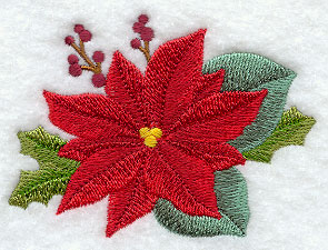 Poinsettia and Christmas holly machine embroidery design.